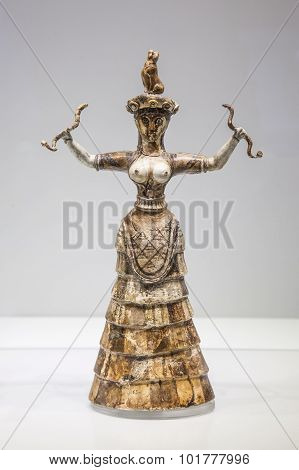 Minoan Statuette Snake Goddess In Heraklion Archaeological