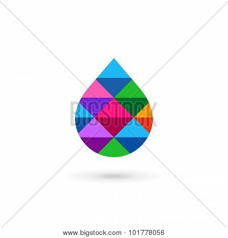 Water Drop Symbol Mosaic Logo Design Template Icon. May Be Used In Ecological, Medical, Chemical, Fo