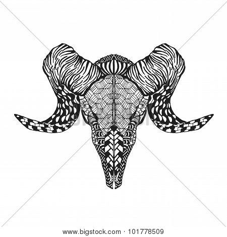 Zentangle stylized mutton sheep skull for tattoo t-shirt.