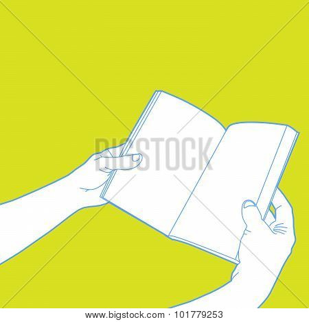 Hands holding open book - outline