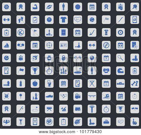 Sport icon set, square