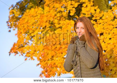 Autumn Sunset Park - Red Hair Woman Fashion