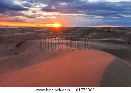 Amazing Pink Sunset In The Gobi Desert. Mongolia.