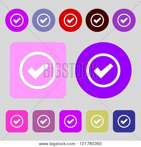 Check Mark Sign Icon . Confirm Approved Symbol. 12 Colored Buttons. Flat Design. Vector