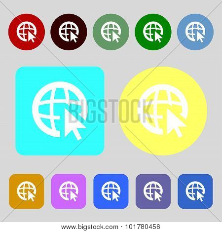 Internet Sign Icon. World Wide Web Symbol. Cursor Pointer. 12 Colored Buttons. Flat Design. Vector