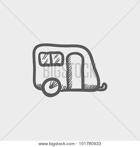 Pulling cab sketch icon for web and mobile. Hand drawn vector dark grey icon on light grey background.