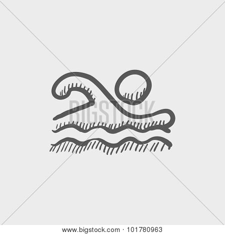 Swimmer sketch icon for web, mobile and infographics. Hand drawn vector dark grey icon isolated on light grey background.