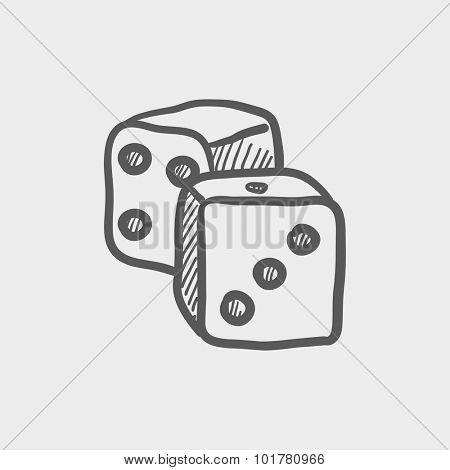 Dices sketch icon for web, mobile and infographics. Hand drawn vector dark grey icon isolated on light grey background.