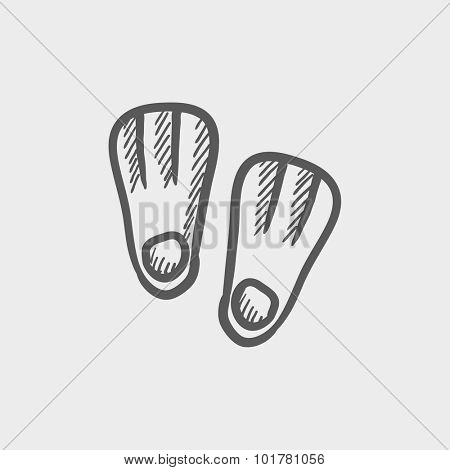 Flippers sketch icon for web, mobile and infographics. Hand drawn vector dark grey icon isolated on light grey background.