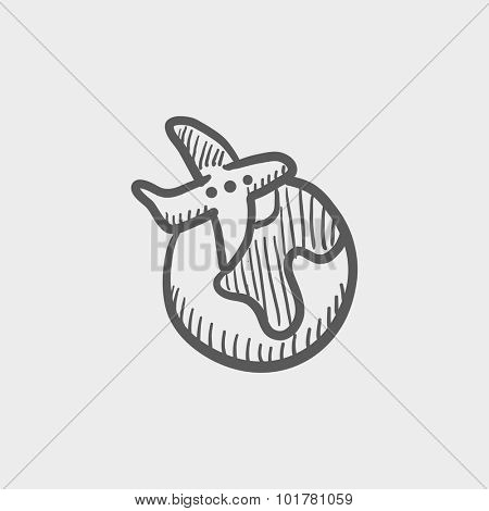 Travel by plane sketch icon for web, mobile and infographics. Hand drawn vector dark grey icon isolated on light grey background.