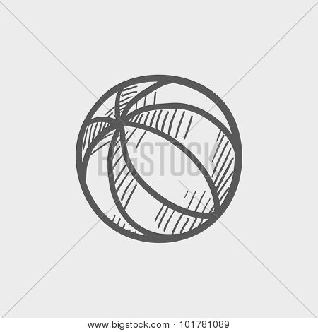 Beach ball sketch icon for web, mobile and infographics. Hand drawn vector dark grey icon isolated on light grey background.