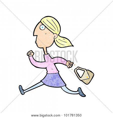 cartoon running woman stressed