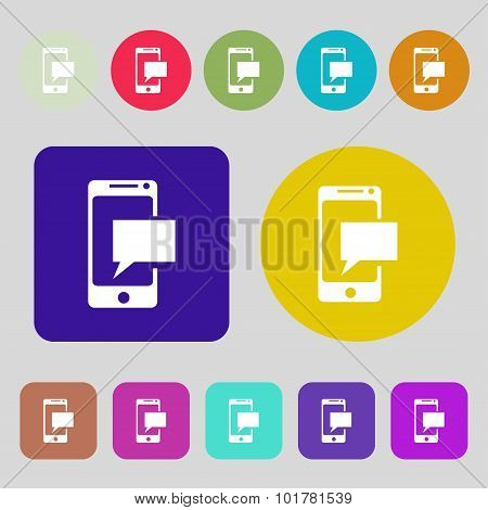 Mail Icon. Envelope Symbol. Message Sms Sign. Mails Navigation Button. 12 Colored Buttons. Flat Desi