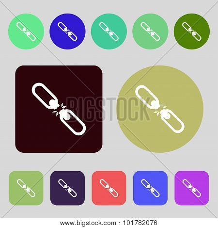 Broken Connection Flat Single Icon. 12 Colored Buttons. Flat Design. Vector