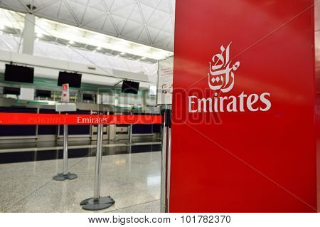 HONG KONG - SEPTEMBER 09, 2015: Emirates check-in counter design details. Emirates is the largest airline in the Middle East. It is an airline based in Dubai, United Arab Emirates.