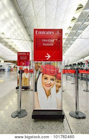 HONG KONG - SEPTEMBER 09, 2015: Emirates check-in counter design. Emirates is the largest airline in the Middle East. It is an airline based in Dubai, UAE.