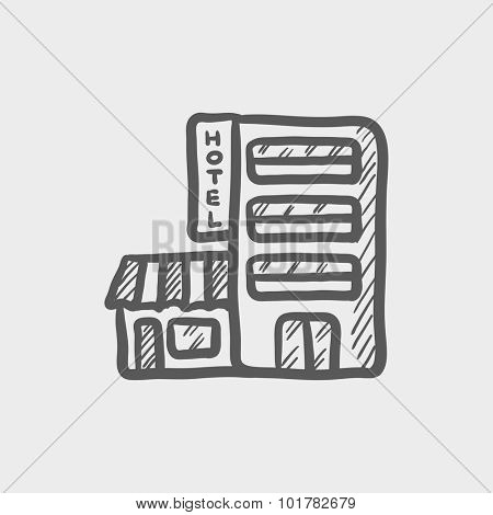 Hotel building sketch icon for web, mobile and infographics. Hand drawn vector dark grey icon isolated on light grey background.