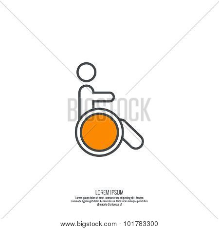 Symbol man on the wheelchair.