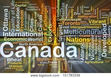 Background concept wordcloud illustration of Canada glowing light