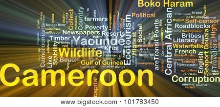 Background concept wordcloud illustration of Cameroon glowing light