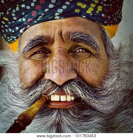 Indigenous Senior Indian Man Looking at the Camera Concept