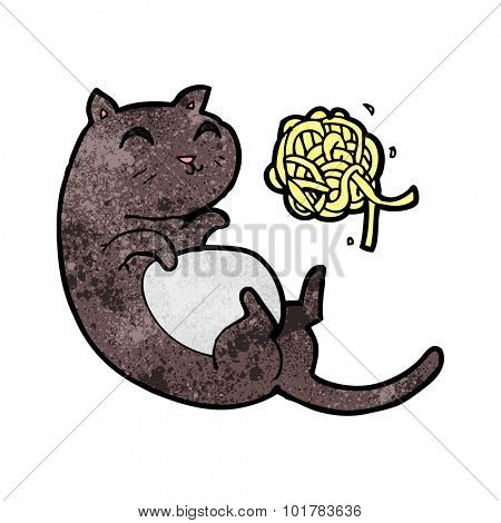 cartoon cat with ball of yarn
