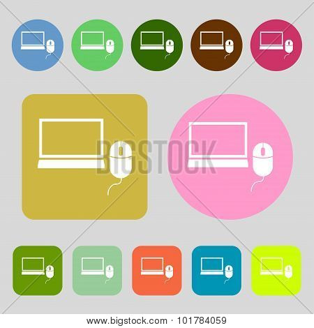 Computer Widescreen Monitor, Mouse Sign Icon. 12 Colored Buttons. Flat Design. Vector