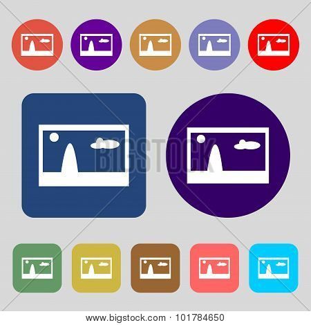 File Jpg Sign Icon. Download Image File Symbol. 12 Colored Buttons. Flat Design. Vector