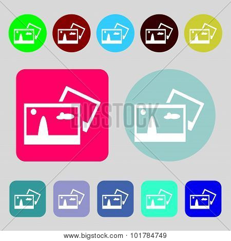 Copy File Jpg Sign Icon. Download Image File Symbol. 12 Colored Buttons. Flat Design. Vector