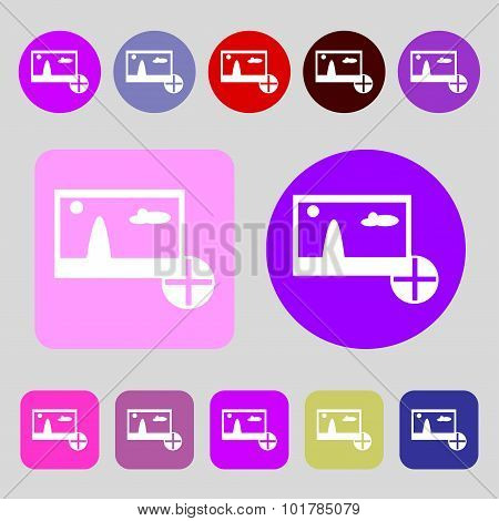 Plus, Add File Jpg Sign Icon. Download Image File Symbol. 12 Colored Buttons. Flat Design. Vector