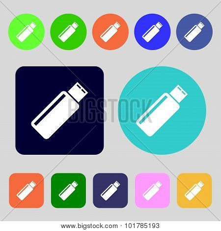 Usb Sign Icon. Flash Drive Stick Symbol. 12 Colored Buttons. Flat Design. Vector