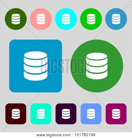 Hard Disk And Database Sign Icon. Flash Drive Stick Symbol. 12 Colored Buttons. Flat Design. Vector