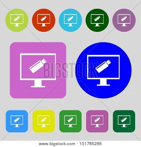 Usb Flash Drive And Monitor Sign Icon. Video Game Symbol. 12 Colored Buttons. Flat Design. Vector