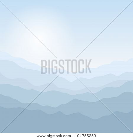 Silhouette of the Mountains  at Sunrise