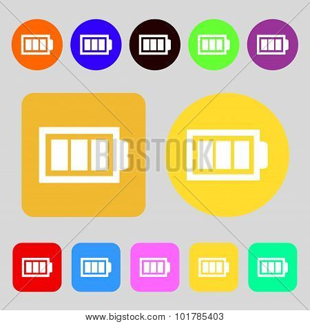 Battery Fully Charged Sign Icon. Electricity Symbol. 12 Colored Buttons. Flat Design. Vector