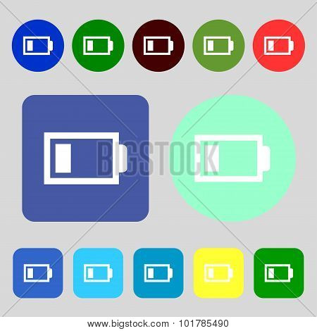 Battery Low Level Sign Icon. Electricity Symbol. 12 Colored Buttons. Flat Design. Vector