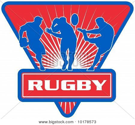 rugby player run pass fend kick