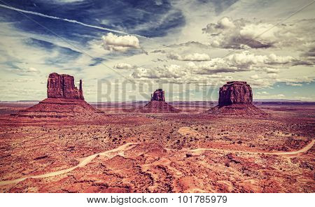 Retro Old Style Photo Of Monument Valley, Usa
