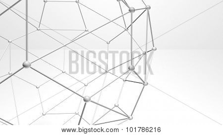 3d abstract atomic structure shapes and particles, plexus style over white background