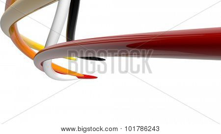 3d glossy colored abstract plastic shapes over white background