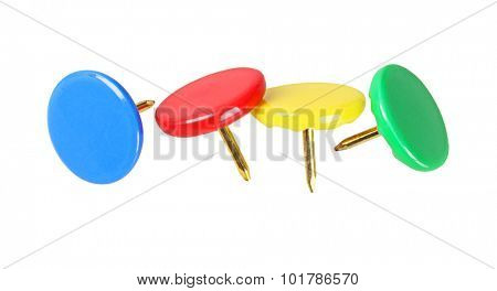 Colourful Thumb Tacks on White Background