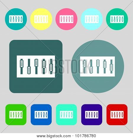 Dj Console Mix Handles And Buttons Icon Symbol. 12 Colored Buttons. Flat Design. Vector
