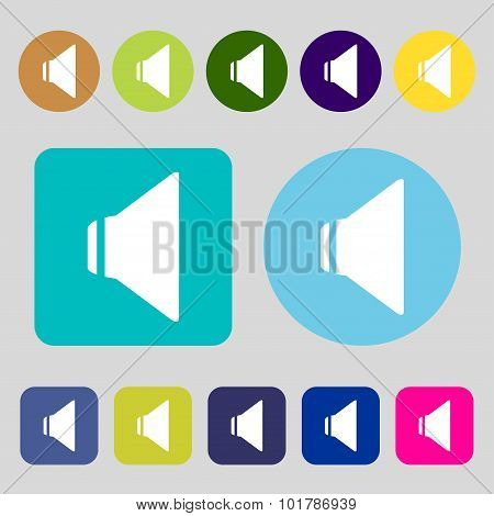 Speaker Volume Sign Icon. Sound Symbol. 12 Colored Buttons. Flat Design. Vector