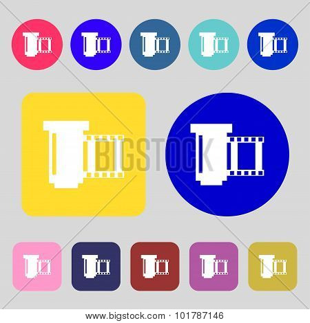 Negative Films Icon Symbol. 12 Colored Buttons. Flat Design. Vector