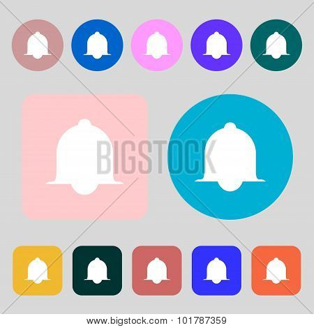 Alarm Bell Sign Icon. Wake Up Alarm Symbol. Speech Bubbles Information Icons. 12 Colored Buttons. Fl