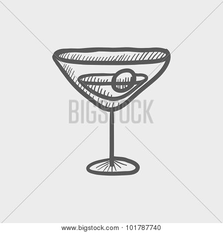 Cocktail glass sketch icon for web, mobile and infographics. Hand drawn vector dark grey icon isolated on light grey background.