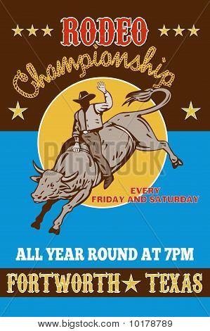Rodeo Cowboy riding a bull bucking