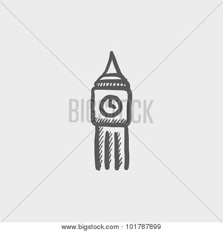 Big ben sketch icon for web, mobile and infographics. Hand drawn vector dark grey icon isolated on light grey background.