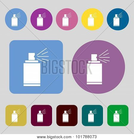 Graffiti Spray Can Sign Icon. Aerosol Paint Symbol. 12 Colored Buttons. Flat Design. Vector