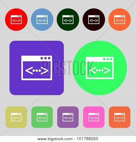 Code Sign Icon. Programmer Symbol. 12 Colored Buttons. Flat Design. Vector